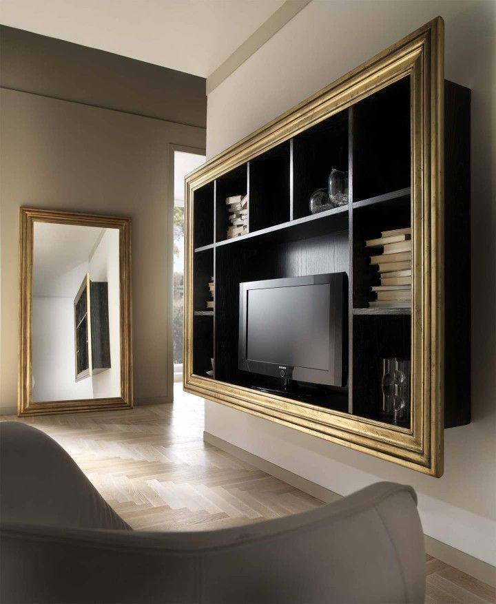 Porta TV sospeso con cornice perimetrale in foglia oro