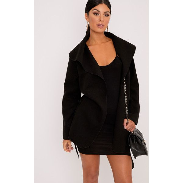 Irinie Black Waterfall Belted Coat ($25) ❤ liked on Polyvore featuring outerwear and coats