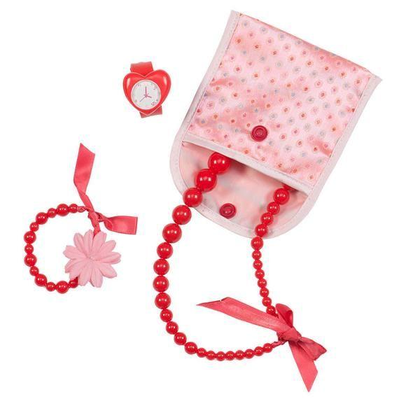 Flot smykketilbehør med ur, halskæde og smykkepose, som passer til Our Generation dukker i str. 46 cm. Our Generation dukkerne er amerikanske dukke af fineste k