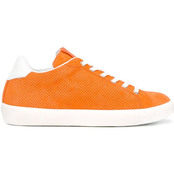 Leather Crown Perforated Sneakers (15,225 INR) ❤ liked on Polyvore featuring shoes, sneakers, orange sneakers, leather crown shoes, leather shoes, leather crown and leather sneakers