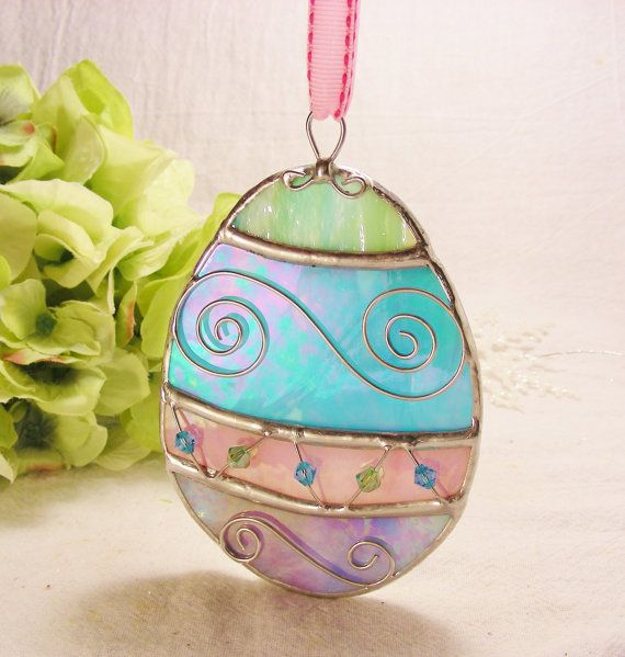 NEW Hanging Stained Glass Ornate Easter Egg Handmade Decoration with Pink Ribbon (ready to ship) Other Ribbon colors available, $29.50