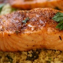 Blackened Salmon with Crunchy Coconut Couscous extremely healthy. Has large amou