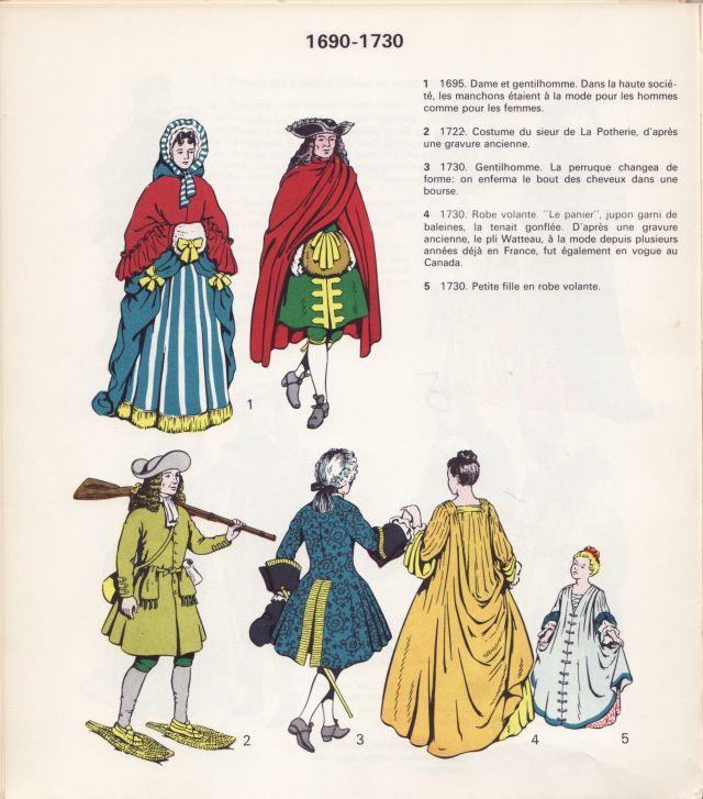 Costumes de la Nouvelle-France, 1690-1730. Image extraite du livre de Rodolphe Vincent, Notre costume civil et religieux, Montréal, c.1965.