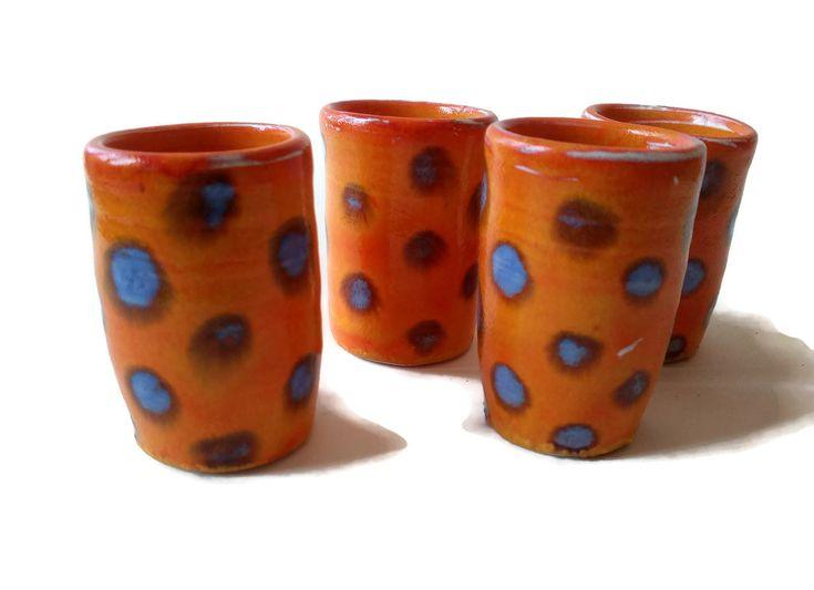 Funny shot glasses, set of 4 OOAK shot glasses, orange with blue spots, pottery shot glasses, handmade shot glass, ceramic espresso cup set by CeramicaAnaRafael on Etsy