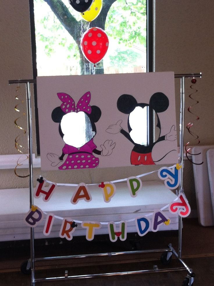 Cute Mickey Mouse birthday party photo booth!