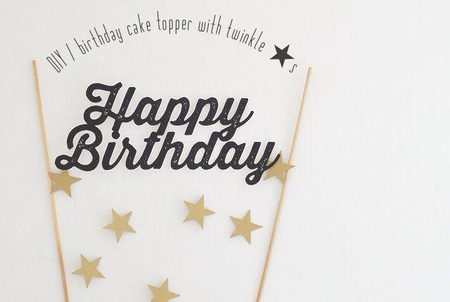 星と切り抜きハッピーバースデーの文字が揺れる手作りケーキトッパーです。
