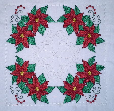 TS1388 - Quilt As You Go Poinsettia & Accent Quilt Blocks  #threadsnscissors #embroidery #machinembroidery #quilt #quiltblocks #blocks #poinsettia