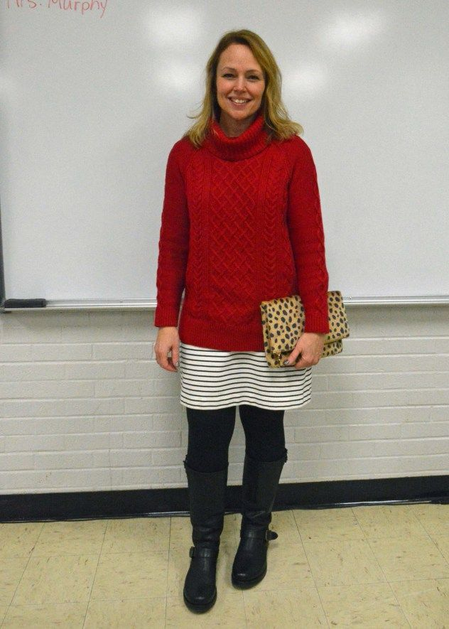 Turtleneck sweater over striped t-shirt dress, leggings, and Frye boots. EVERYDAY TEACHER STYLE - >> style, live, teach, repeat <<