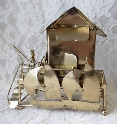 Vintage Music Box Fisherman Fishing Shack with Sailboats Brass Metal Sculpture, Plays It's A Small World Song