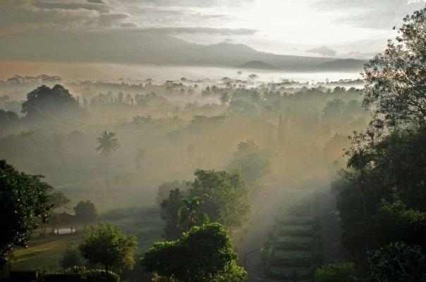 Borobudur at sunrise, Yogyakarta Indonesia
