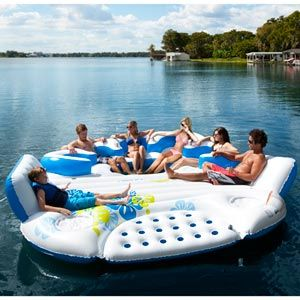Aqua Float Big Island Inflatable---oh yea...on the river behind a boat with