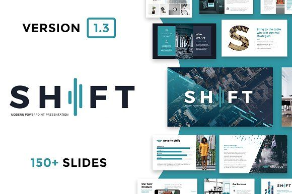 Shift Modern Powerpoint Template. Best PowerPoint templates for businesses like social media, marketing, branding, education, advertising. More #creative #powerpoint #templates for your #business you can download here ➝ https://creativemarket.com/templates/presentations?u=BarcelonaDesignShop