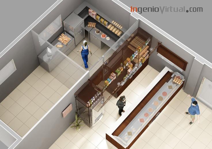ingeniovirtual.com - Infografía de corte para proyecto de interiorismo de pastelería en estación de servicio.