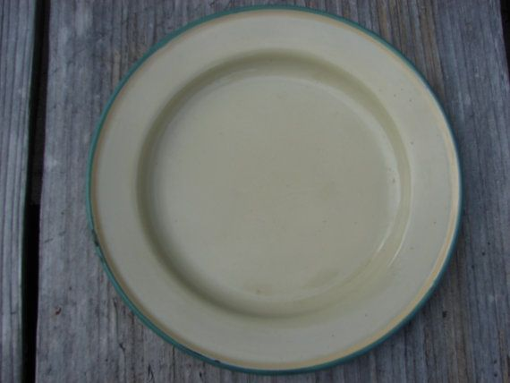 Kockum Of Sweden Enamel Plate White With Green Trim By