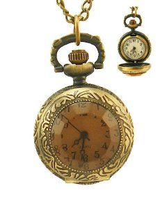 "Steampunk Pocket Watch Pendant - Antiqued Brass Topaz Glass Face and 28"" Chain ABC-time. $12.99"