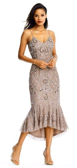 e9ca24e862 Sequin Beaded Midi Dress with Mermaid Skirt