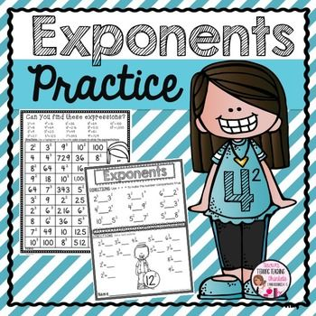 Exponents! Exponent practice and activities!  Use these pages for math centers, buddy activities, peer tutoring, small group or homework.This Exponent Resource contains the following 11 different exponent activities Journal Cover for organizing student work into mini exponent journal Exponent Practice Pages identifying base, exponents, expanded and standard notation including differentiated versions (2)  Comparing Exponent Values (greater than, less than) Missing Bases (students add the…