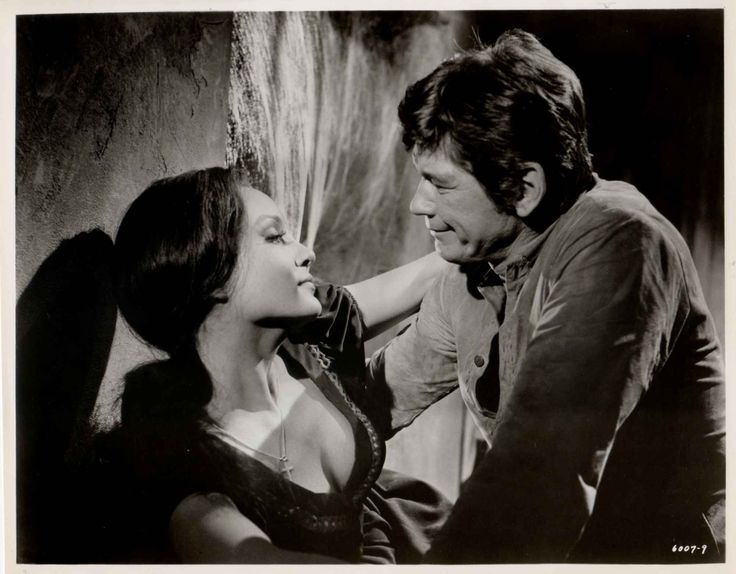 """GUNS OF DIABLO (1965) - Charles Bronson (pictured) - Susan Oliver (pictured) - Kurt Russell - Feature film created from episodes of ABC-TV's """"The Travels of Jaimie McPheeters"""" starring Dan O'Herlihy & Kurt Russell -  Based on novel by Robert Lewis Taylor - Directed by Boris Sagal - MGM - Publicity Still."""