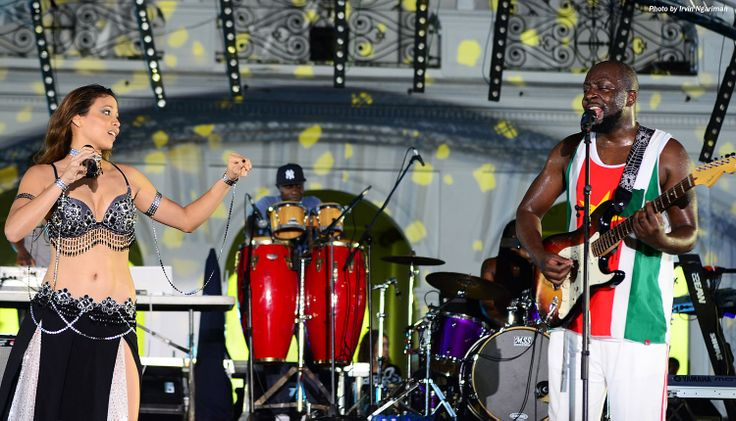 Audrey Bakrude, Member of Suriname's #1 Alternative Rock band, performing with Wyclef jean At Carifesta XI in Suriname2013