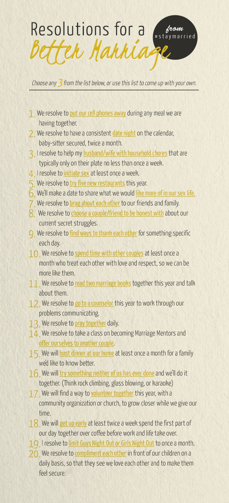 Great list! I challenge you to spend some time together making your own.  New Year, Better Marriage - #staymarried