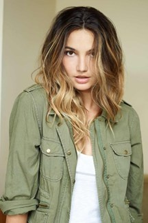 Lily Aldridge's trademark ombre hair and military fatigues
