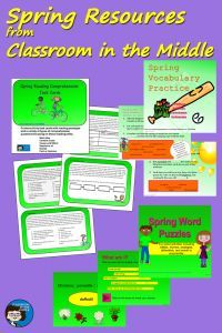 Spring Resources from Classroom in the Middle - task cards, vocabulary review, five kinds of words puzzles, and a FREE  set of three activity sheets.