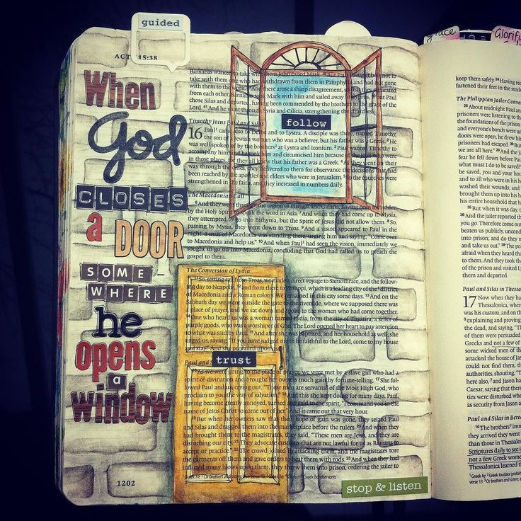 "We were reading Acts 16 in this week's bible study group and we we noticed how the Holy Spirit was very clear with Paul about where he shouldn't go on his missionary journeys... But then He opens another opportunity somewhere else that results in lives saved and transformed. It reminded me of the line from The Sound of Music: ""when God closes a door somewhere He opens a window"" and just had to use that on this page... I really pushed myself on this one because I'm not a confident drawer (I…"