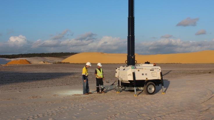 Mobile Lighting Tower on mine site. www.prpower.com.au