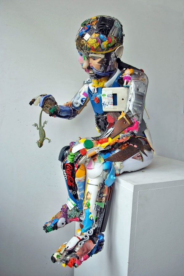 Sculptures made from discarded objects and rubbish by Dario Tironi