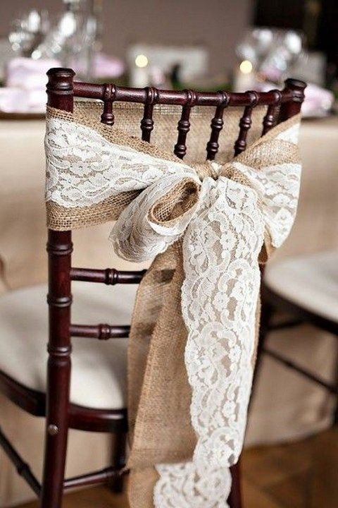 Burlap and lace make for beautiful shabby-chic chair decor! {B. Mello Photo}
