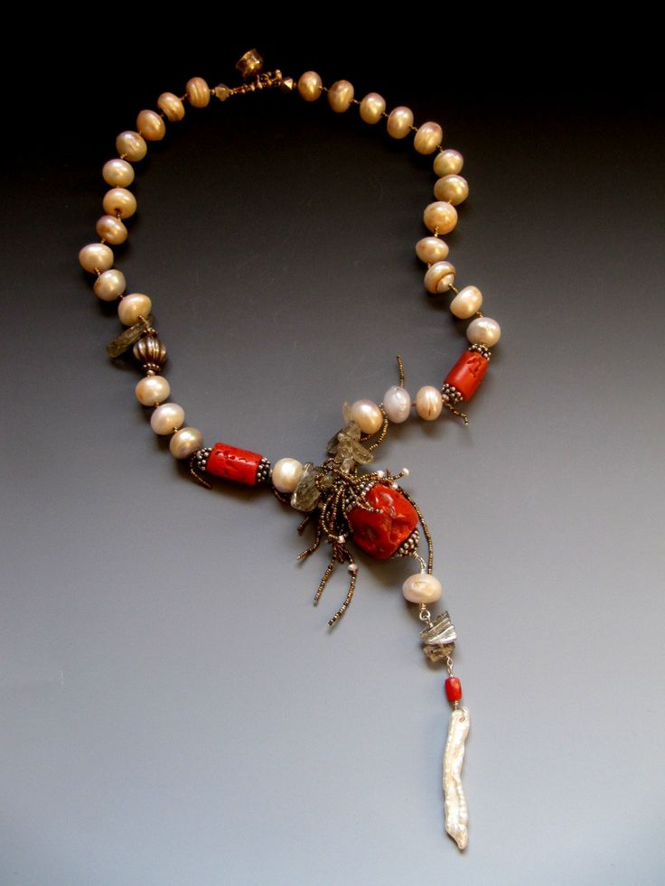 Antique Coral, Fresh water pearls, silver, scapolite LuciaAntonelli.com