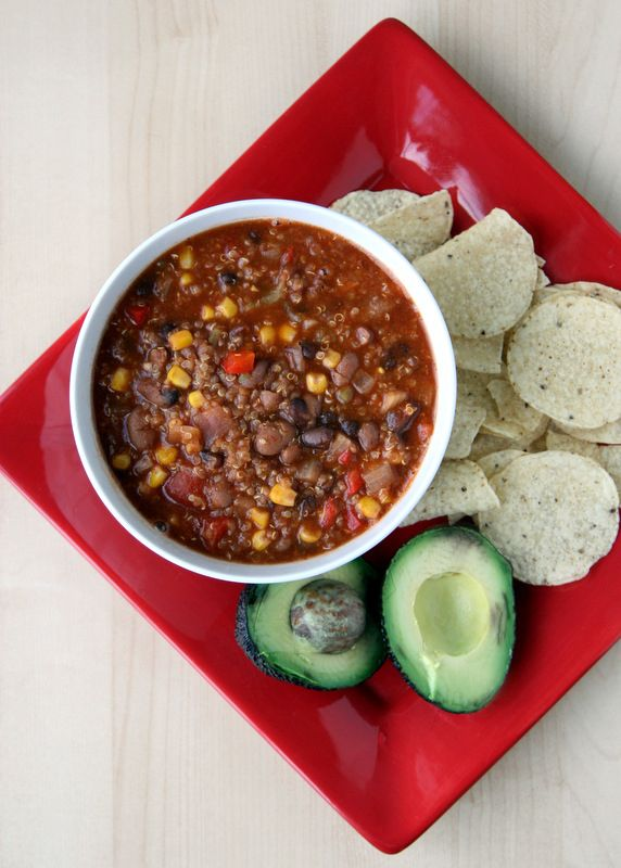 Slow cooker Quinoa Chili - super quick (throw everything in!) and delicious. Plus, the quinoa gives it the texture of ground beef, but is vegetarian. Possible Vegan entree for wedding?