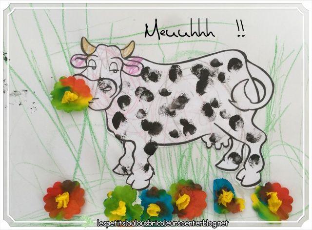 Meuuuhhh  !!  Coloriage sur dessin imprimé, peinture avec tampon mousse, fleurs avec filtre à café….