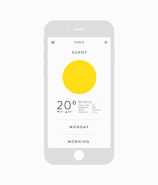 Clean and Unconventional Weather App Design | Mobile UI Design