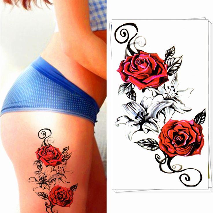 Nu Taty 블러디 레드 로즈 임시 바디 예술, 플래시 문신 스티커 12*20 센치메터, 방수