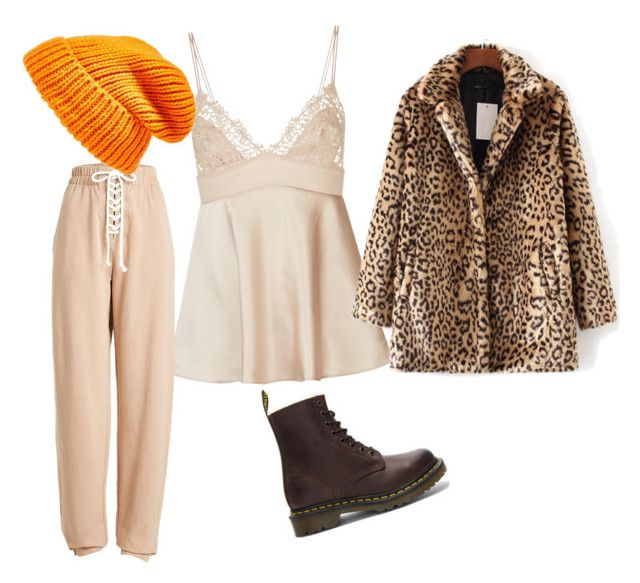 """""""Untitled #203"""" by kimtaelion ❤ liked on Polyvore featuring La Perla, Puma, WithChic, Topshop, Dr. Martens, orange, leopard, beige, pants and coat"""