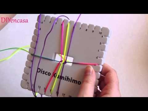 ▶ DIY Tutorial pulsera kumihimo cuadrado tres filas de colores.bracelet kumihimo square - YouTube