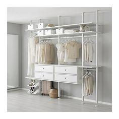 IKEA - ELVARLI, 4 elementen, Je kan deze open opbergoplossing altijd naar behoefte aanpassen of aanvullen. Misschien is de voorgestelde combinatie geschikt, anders kan je altijd een eigen maatwerkcombinatie samenstellen.Combineer bij voorkeur open en dichte opbergers - planken voor je lievelingspullen en lades voor dingen die je niet in het zicht wilt hebben.Door de verstelbare planken en kledingroedes kan je de ruimte eenvoudig aanpassen aan de behoefte.Je kiest zelf of je de open…