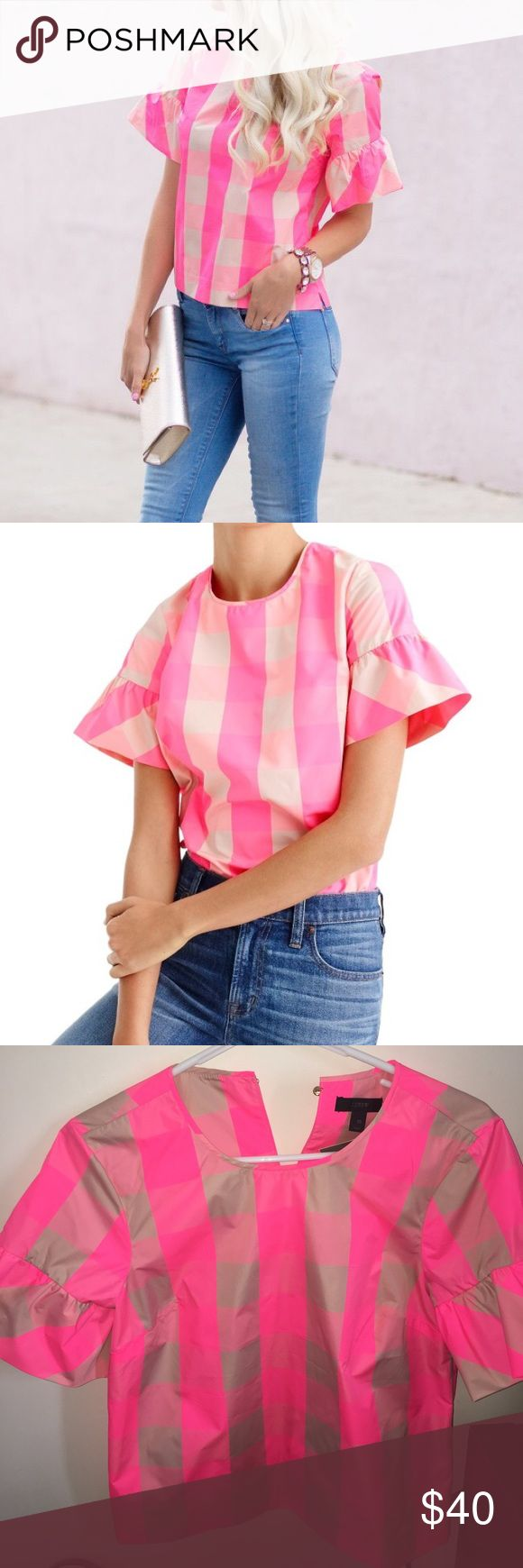 J Crew hot pink blouse NWT J crew light pink blouse! Never been worn. 100% polyester j crew Tops Blouses