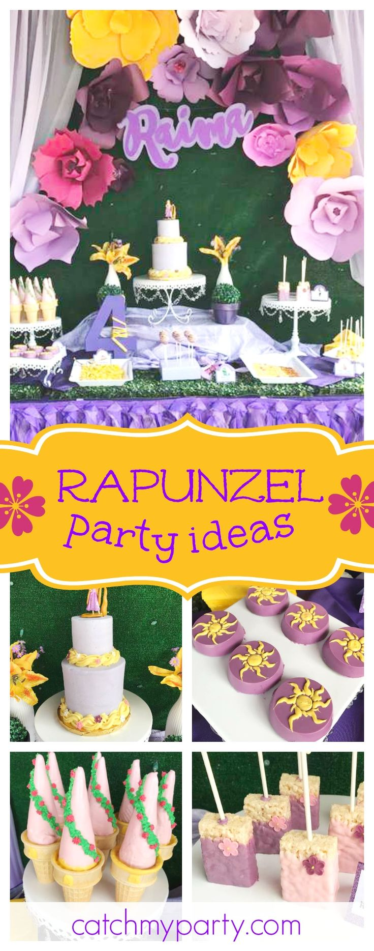 Take a look at this gorgeous Rapanzel birthday party! The dessert table is stunning!!See more party ideas and share yours at CatchMyParty.com #rapunzel #princess