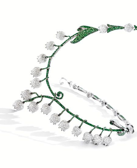 Tsavorite Garnet and Diamond 'Lily of the Valley' Necklace, Michele della Valle.