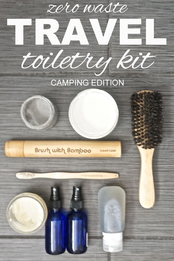 A zero waste travel toiletry kit for camping from www.goingzerowaste.com