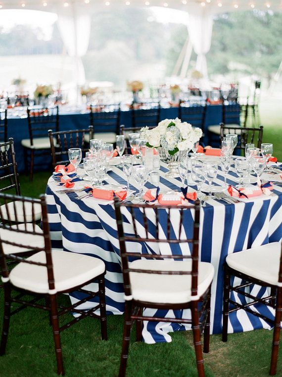 Black And White Striped Or Navy Blue And White Tablecloth