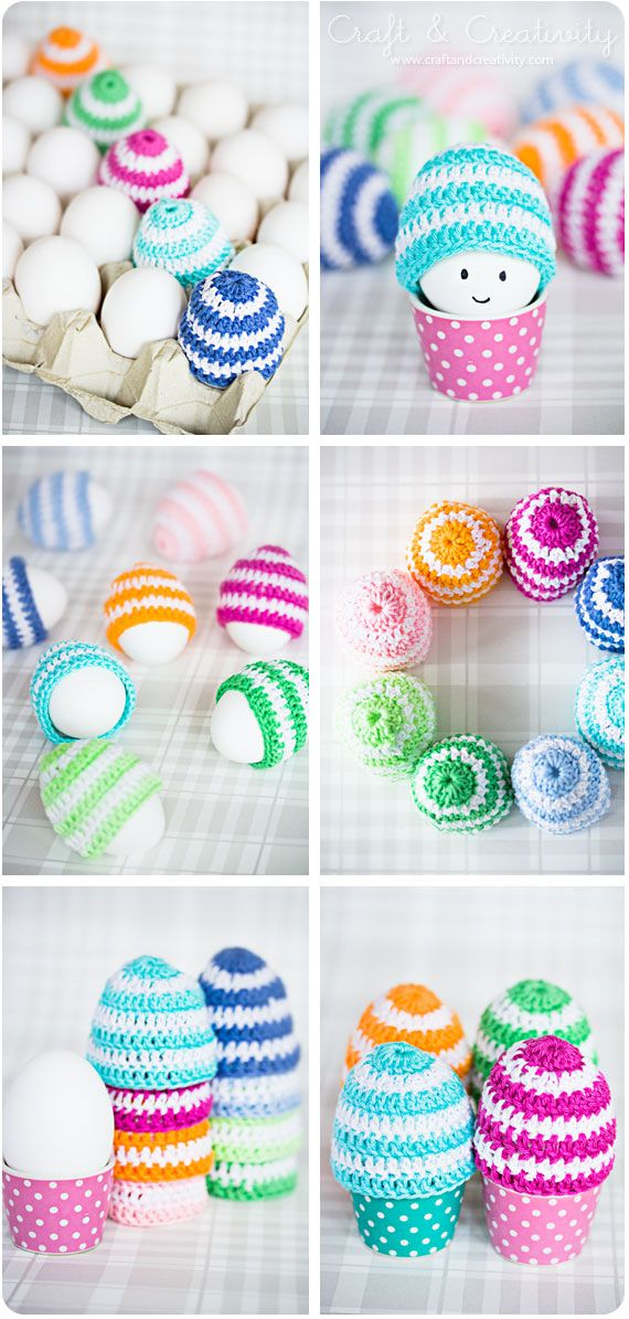 Crochet easter egg cosies. Could use an old pair of socks to make the cosie rather than crochet one.