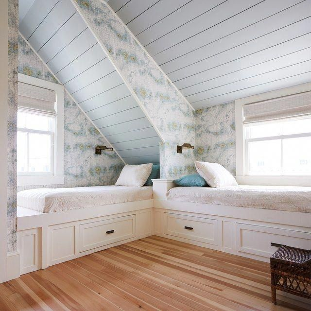 Two Small Bunk Beds Next To Windows In A Green Room Atticbedroom Interior Design Interior Modern Bunk Beds