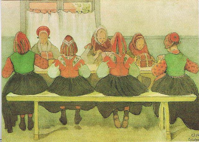 Gagnefs Knyppelskola (Gagnefs Lace-making School) by swedish watercolor artist, Ottilia Adelborg Eve, 1855-1936. photo by anniemcc on flickr