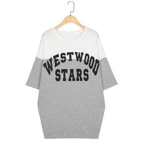 2014 весной и летом новые корейские студенты Harajuku стиль рубашки печати буквы пятый рукав потерять футболку 2277Z-Taobao
