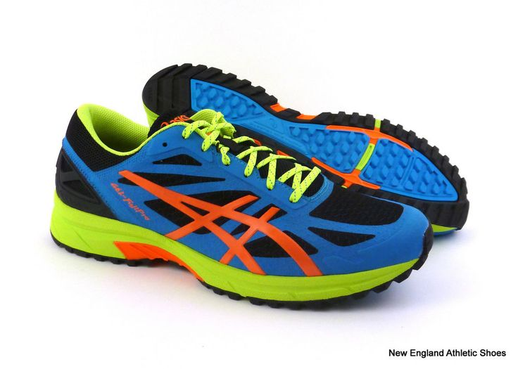 Asics men Gel-FujiPro trail running shoes - Onyx / Orange / Atomic Blue $120