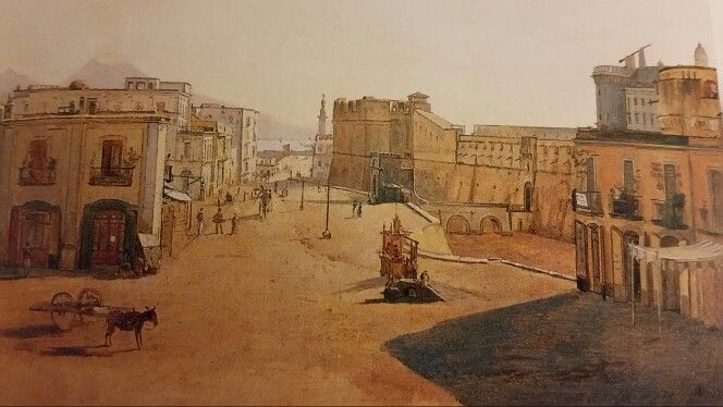 """FRANZ VERVLOET. LARGO DEL CASTELLO CON LA LANTERNA DEL MOLO. 1825.  Signed and dated """" Franz Vervloet 1825 """"."""