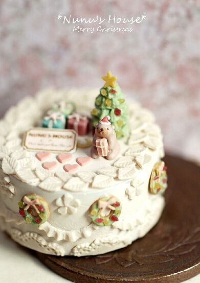 :: Crafty :: Clay ::☃ Christmas ☃::  Xmas Cake - Nunu's House